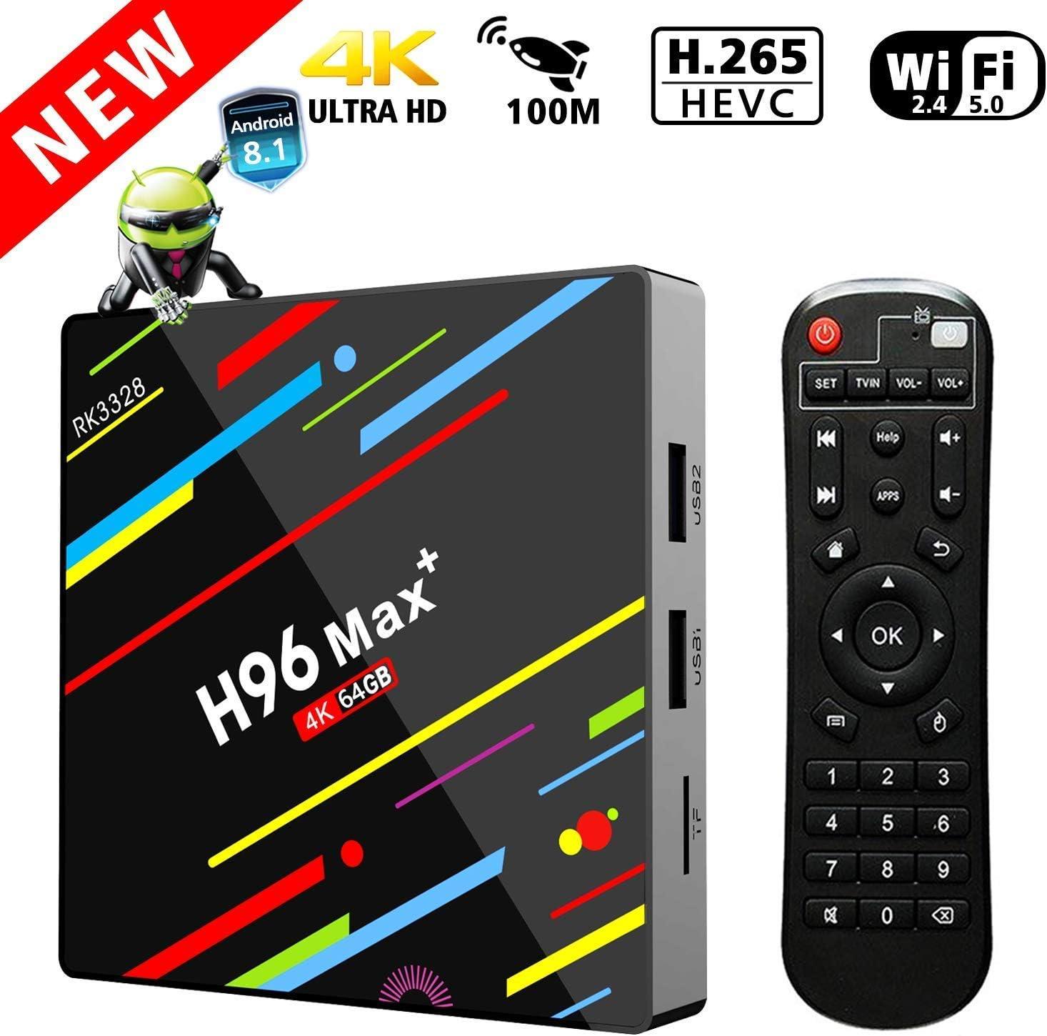 TV Box 4G 64GB, Penkou H96 MAX + Android 8.1 Smart TV Box RK3328 Quad-Core 64bit Cortex-A53 4 GB 64G Penta-Core Mali-450 hasta 750Mhz + Caja de Regalo Full HD / H.265 /