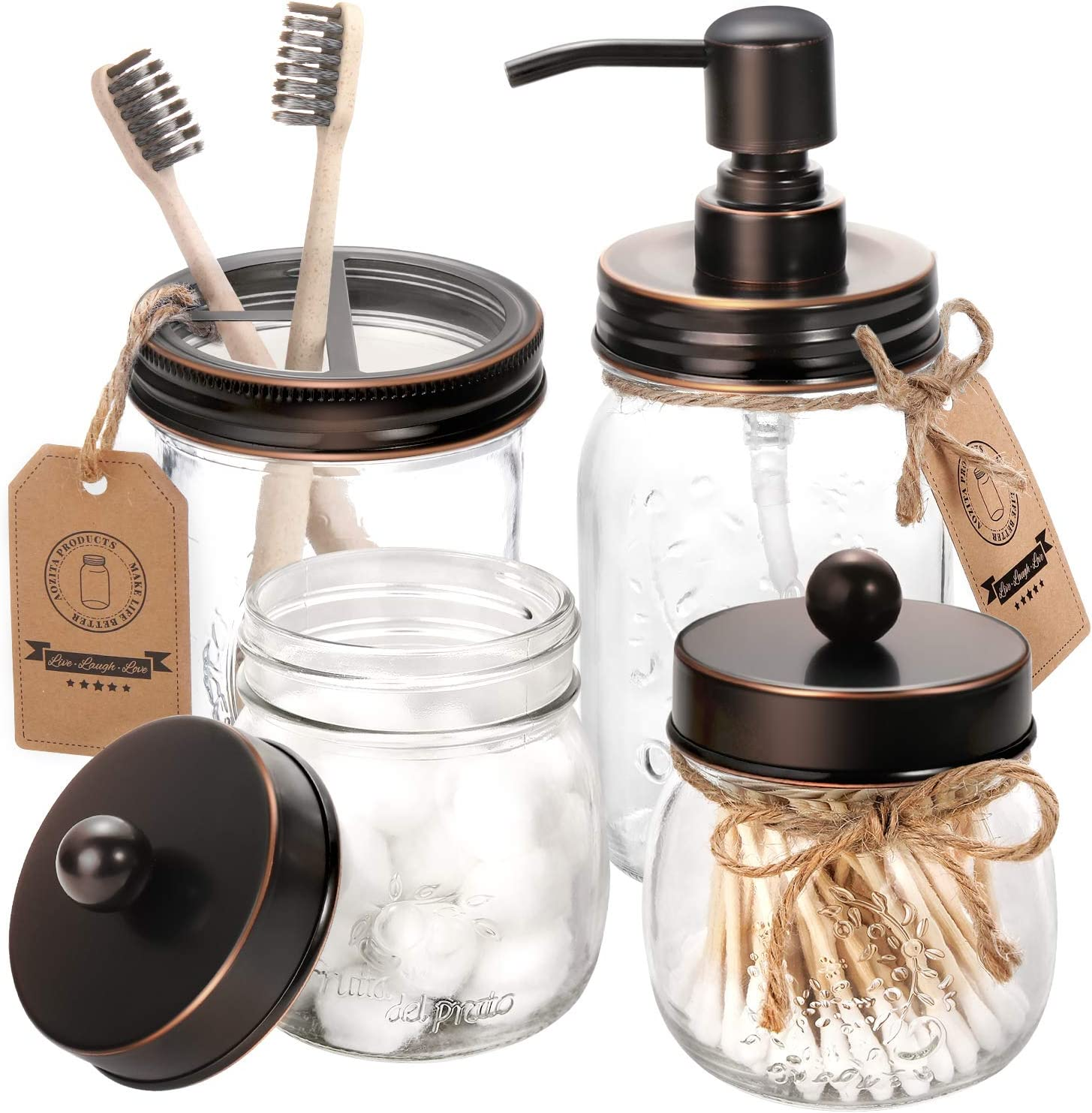 AOZITA Mason Jar Bathroom Accessories Set 4 - Oil Rubbed Bronze - Mason Jar Soap Dispenser & 2 Apothecary Jars & Toothbrush Holder - Rustic Farmhouse Decor, Bathroom Home Decor, Countertop Organize