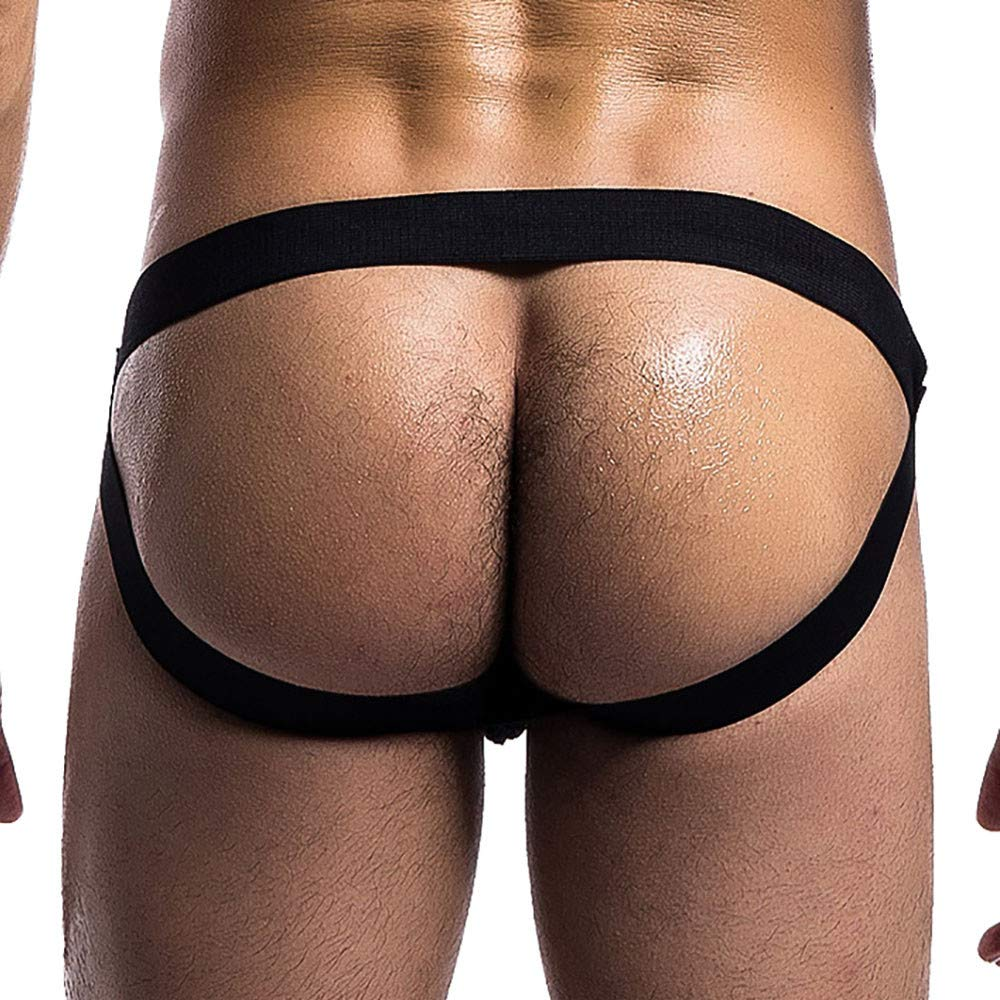 NUWFOR Mens 3.2cm Strap Waistband Athletic Supporter T-Back Thong Underwear(XL Waist:34''-36'',Black) by NUWFOR (Image #6)