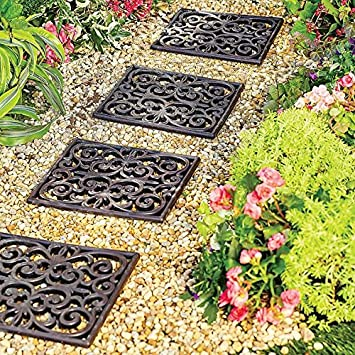 Delightful Home Improvements Outdoor Garden Set Of 3 Square Rubber Stepping Stones  Tiles Walkway Scrolled Brown