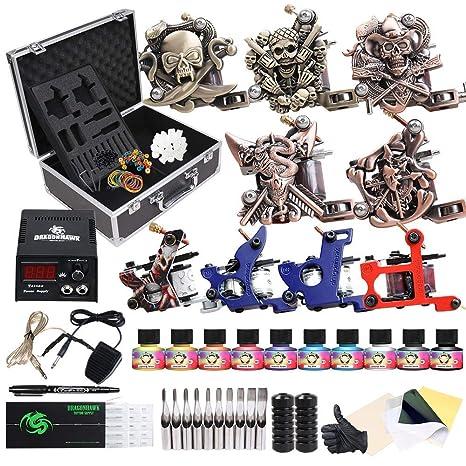 Starter Complete Tattoo Kit 9 Machine Gun Power Supply 50 Needles 40 Ink Set D23