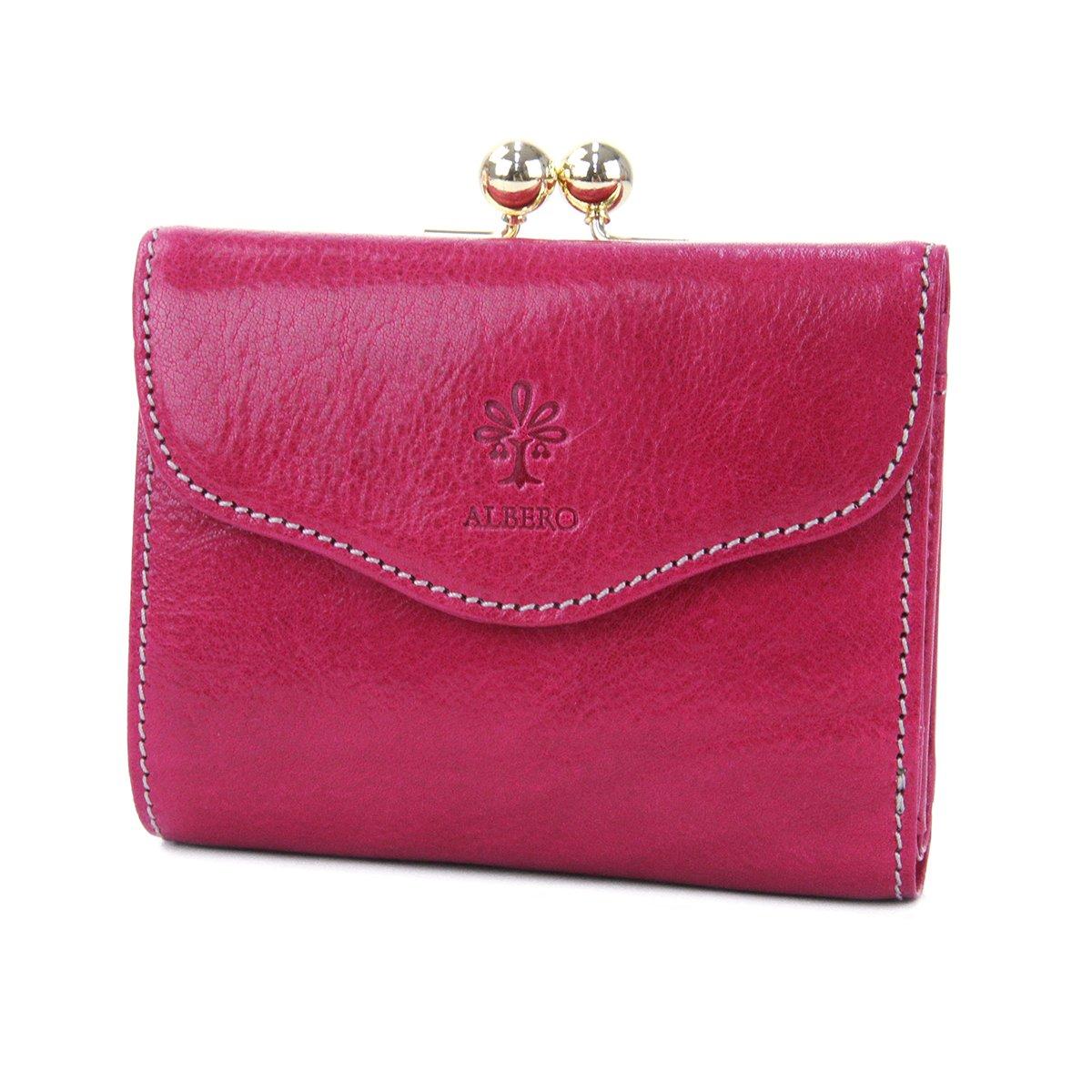 [アルベロ] がま口二つ折り財布 本革 ピエロ 6408 レディース B0727PNQNS  ピンク -