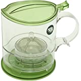 The Fine Life Bottom Dispensing Loose Leaf Teapot Infuser and Coffee Brewer - Green - 16 oz. - Includes Acrylic Spoon, Acrylic Extender Ring, and Additional Filter