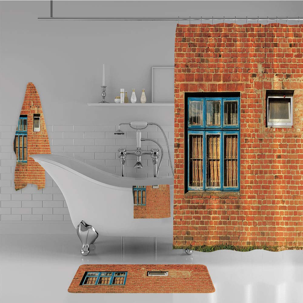 iPrint Bathroom 4 Piece Set Shower Curtain Floor mat Bath Towel 3D Print,with Old Windows and Wall Aged Construction,Fashion Personality Customization adds Color to Your Bathroom.