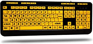 Adesso AKB-132UY - Luminous 4 X Large Print Multimedia Desktop USB Keyboard, Black Yellow