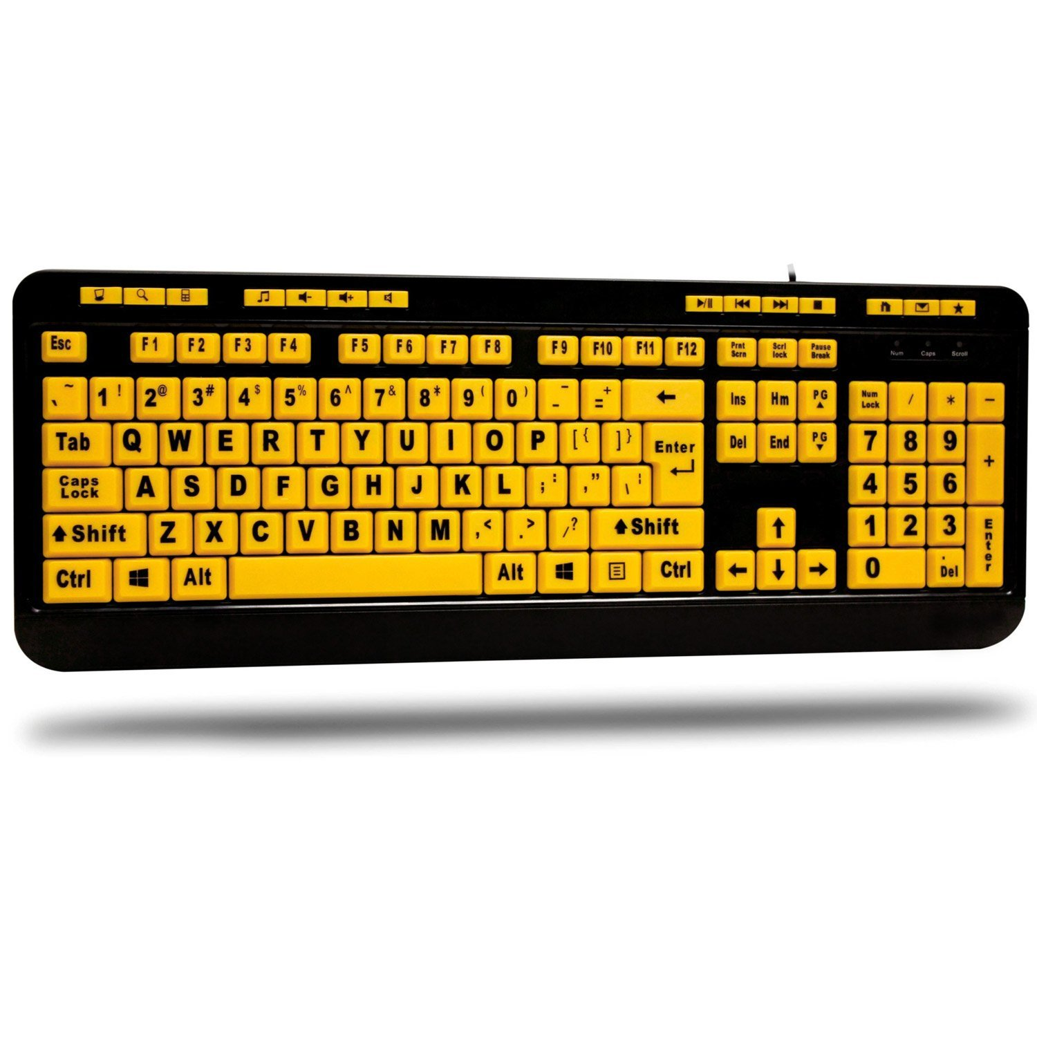 Adesso AKB-132UY - Luminous 4 X Large Print Multimedia Desktop USB Keyboard by Adesso