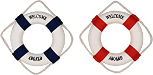 Beautyflier Nautical Life Ring Buoy Welcome Aboard Cloth Decorative Home Wall Hanging Decor Ornament, Red and Navy Blue
