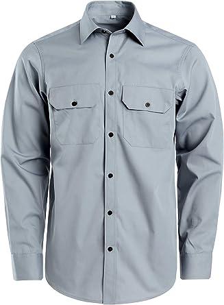 J.VER Hombres Manga Larga Camisa de Trabajo Casual Anti Arrugas Al Aire Libre: Amazon.es: Ropa y accesorios