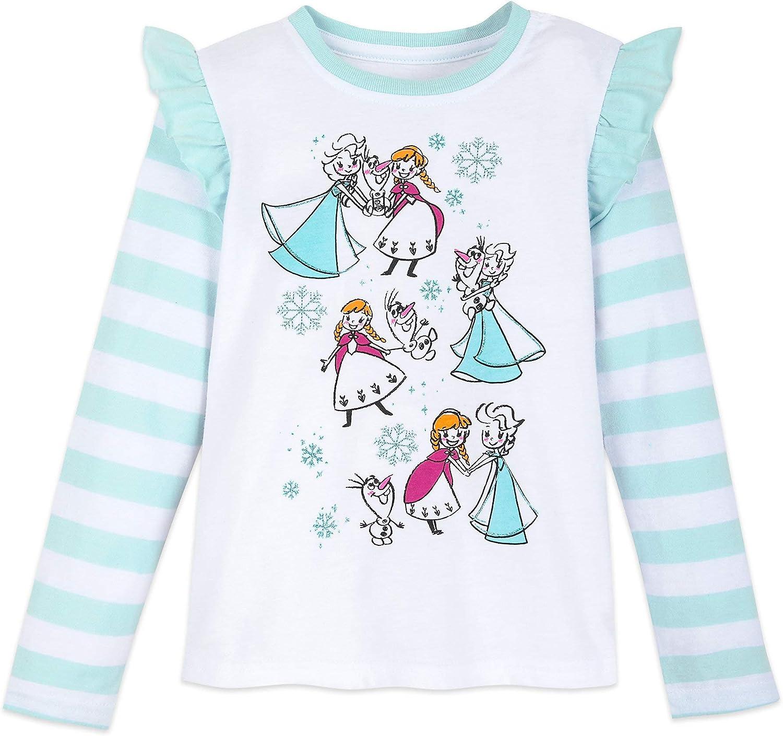 Textiel Trade Walt Disney Frozen Longsleeve Pink 4 Official Childrens Tee T-Shirt Girls Kids