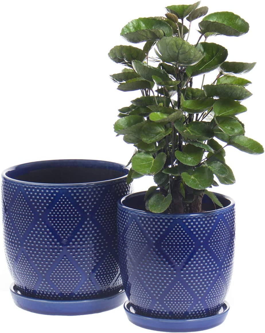 """KYY Ceramic Planters Garden Flower Pots with Drainage Holes and Saucers 6.5"""" and 5.5"""" Indoor Outdoor Modern Plant Containers Set of 2 (Royal Blue)"""