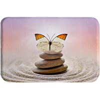 A.Monamour Butterfly Zen Stone Balance Circle Patterns in The Grain Sand Abstract Spa Decors Soft Absorbent Flannel Anti…