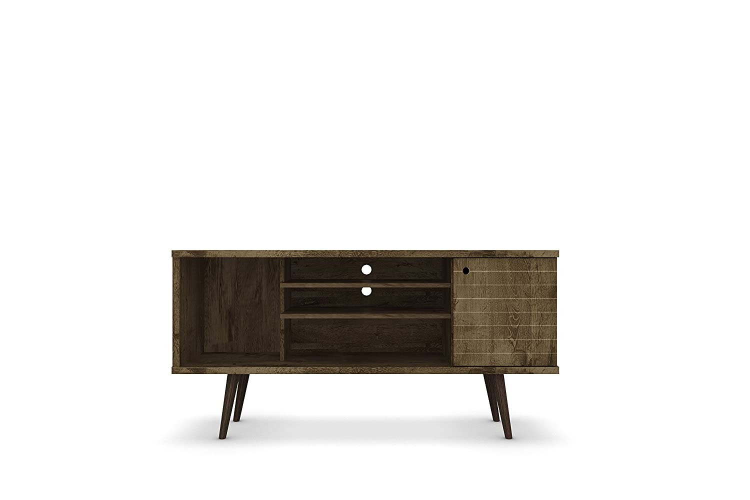 Manhattan Comfort Liberty Collection Mid Century Modern Tv Stand With One Cabinet And Three Open Shelves And One Cubby With Splayed Legs, Wood by Manhattan Comfort
