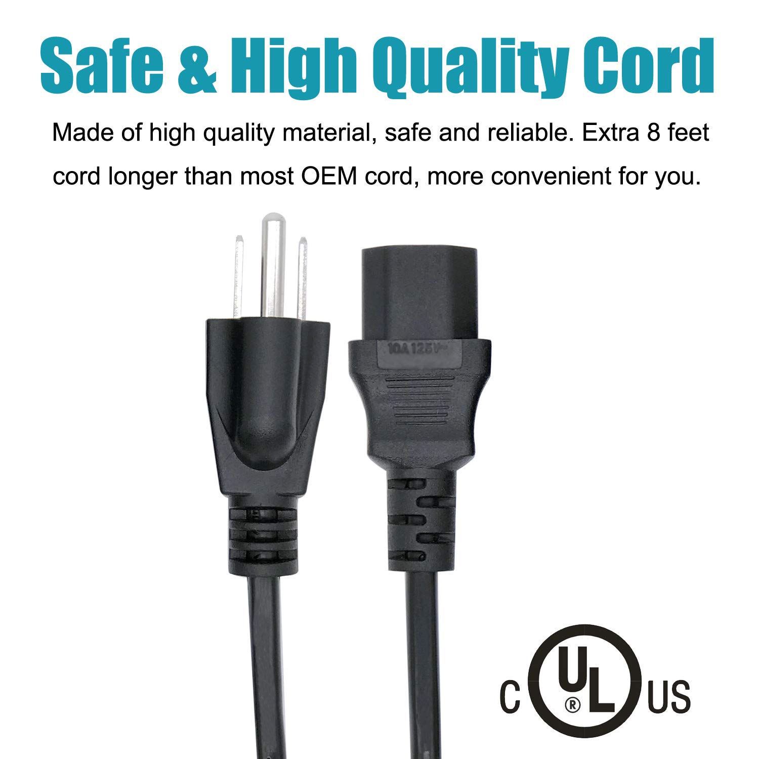 Saireed UL Listed 3 Prong Power Cord for LG 37LG30 37LG30DC 37LG50 37LC2D 37LC7D 37LD450 37LF11 42LC4D 42LC7D 42LD450 42LD520 42LB5DF 42LBX 42LC2D TV Power Cord 8ft Replacement C13 AC Cable