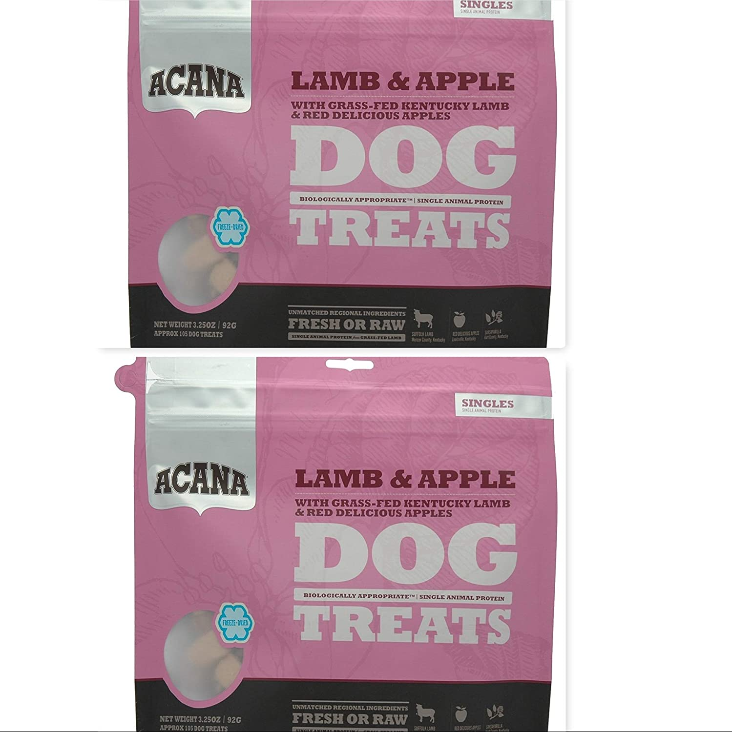 2 Pack of Acana Lamb & Apple Dog Treats 3.25 OZ Ea. with Grass-FED Kentucky Lamb & RED Delicious Apple