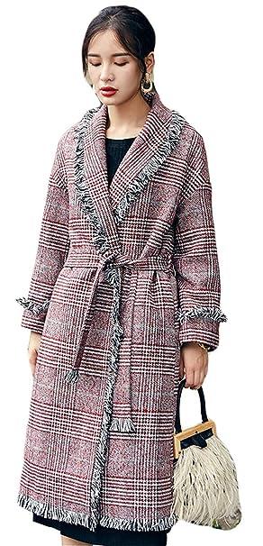 Abrigos Mujer Largos Vintage Fashion Cuadros Chaqueta Mode De Marca Elegantes con De Solapa Manga Larga