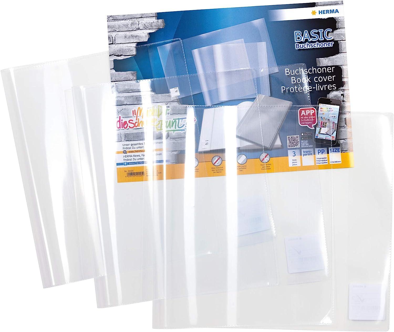 Gr/ö/ße 31,5 x 54 cm, transparent Buchh/ülle aus robuster Folie mit Namensetikett HERMA 14315 Buchumschlag Basic 1 Buchschoner f/ür Schulb/ücher