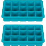 "Ice Cube Trays - BPA Free Silicone Molds - Square Cubes - Blue - 2 Pack - Makes 15 - 1.25 Inch Cubes - Tray Size: 7.25"" x 4.5"" x 1.25"""
