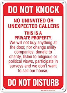 No Soliciting Sign - Do Not Knock - Do Not Disturb Sign - 10  high  sc 1 st  Amazon.com & Amazon.com: No Soliciting sign Decal Sticker $50 per minute Door ...