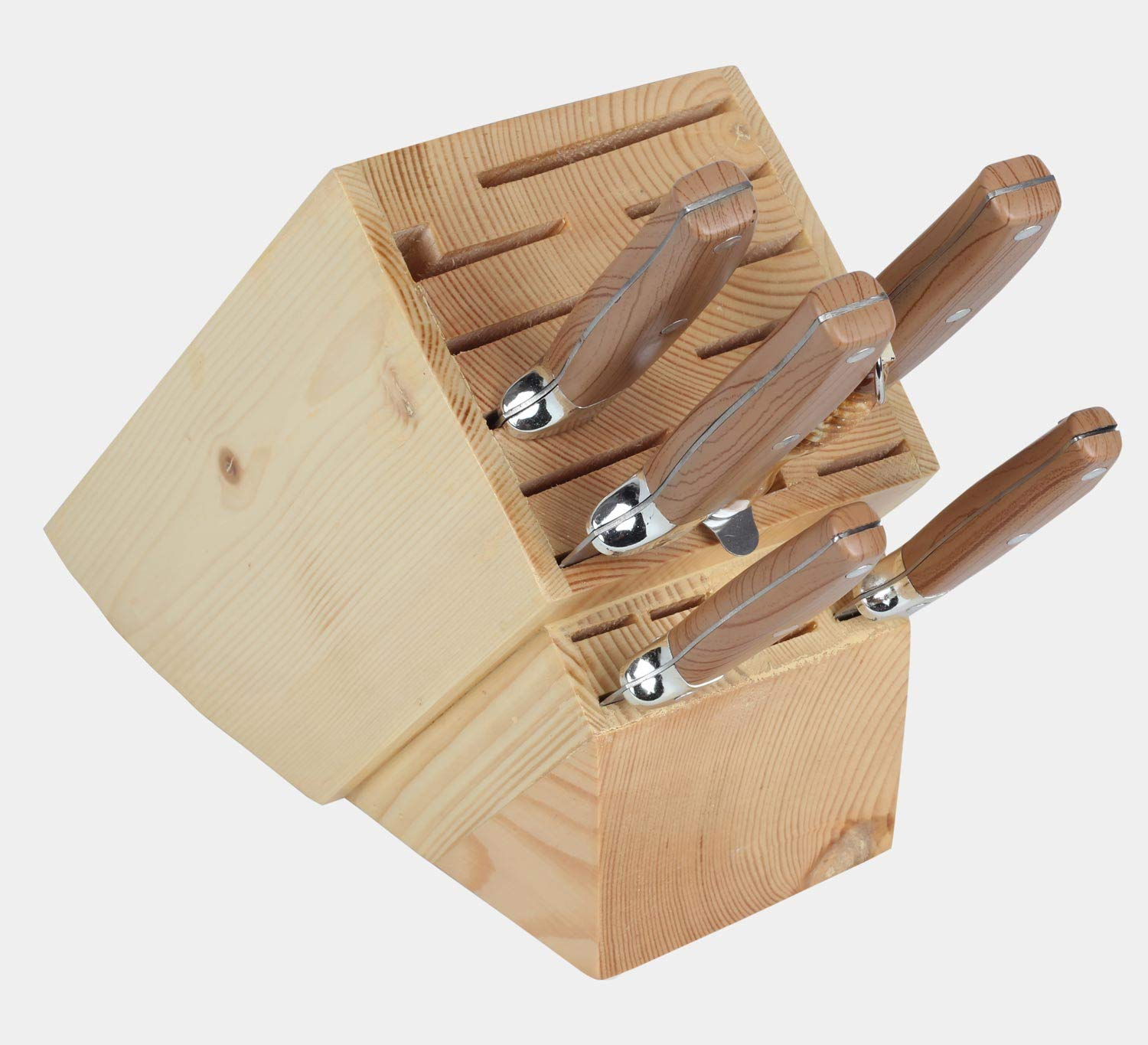 20 Slot Knife Holder Rack - Kitchen Knife Storage Wood Stand Organizer - Universal Knife Block Without Knives by AX Fashions (Image #3)