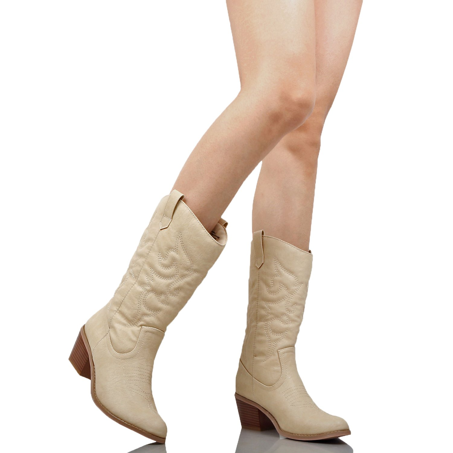 West Blvd Miami Cowboy Western Boots Boots, Beige Pu, 10 (B) M US by West Blvd (Image #6)