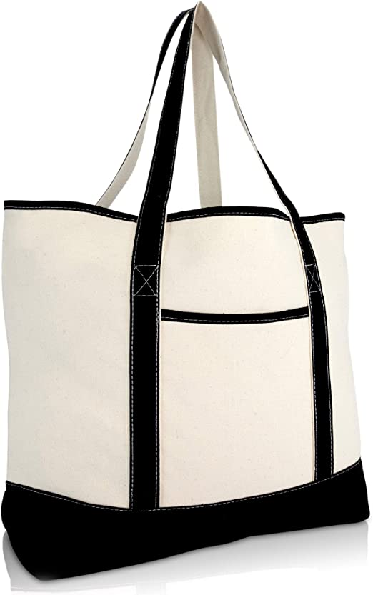 Large tote with pocketsLarge Office tote bagLarge zippered tote bagModern shopping bagGift idea for wife or girlfriendLarge canvas tote