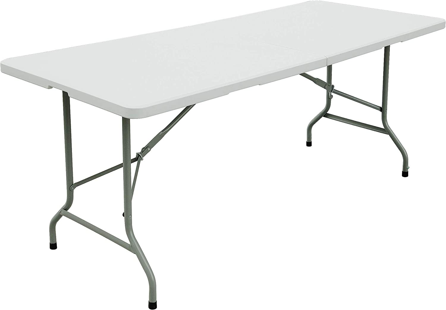 FORUP 6ft Table, Folding Utility Table, Fold-in-Half Portable Plastic Picnic Party Dining Camp Table (White): Kitchen & Dining