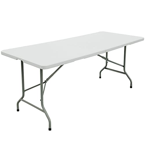 FORUP 6ft Table, Folding Utility Table, Fold-in-Half Portable Plastic Picnic Party Dining Camp Table White