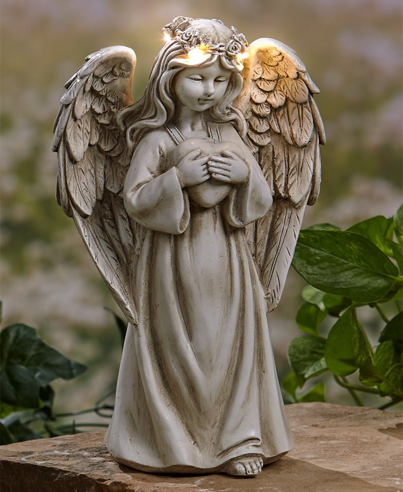 The Lakeside Collection Garden Angels with Solar Halos Heart by The Lakeside Collection