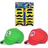 Joyingle Super Mario Bros Luigi Adult Hat Cap Costume Cosplay Halloween Baseball Anime Unisex Role Play Hat (Red And…