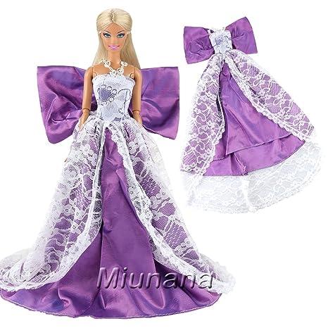 Miunana Vestito Lungo Con Farfalla Per Bambola Barbie Dolls - Violetto ae3347fff4e