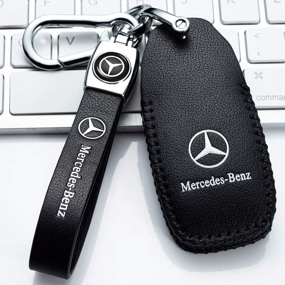 Leather Car Key Fod Cover Case Protector Keyless suit for Mercedes Benz C E S M CLS CLK G Class Smart Car Remote key Holder