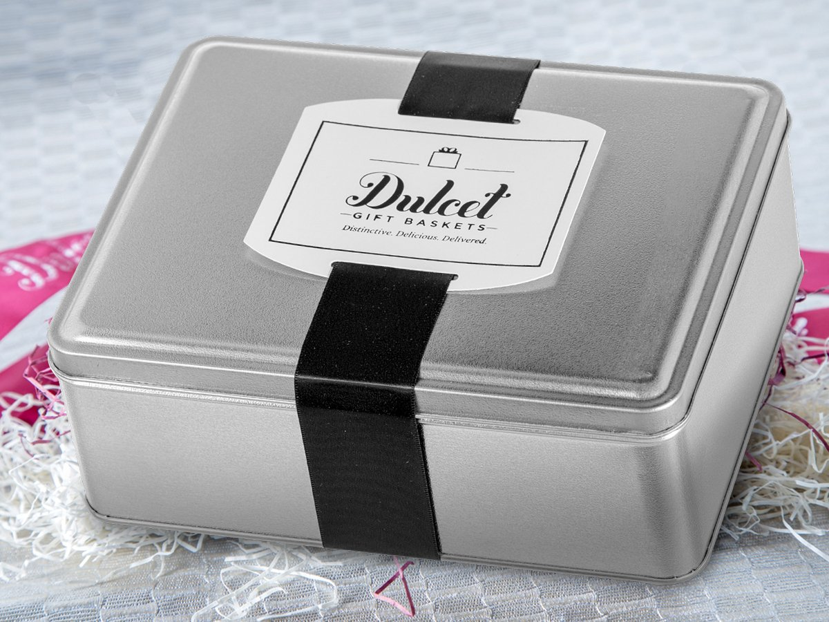 Dulcet Original Classic Mini Black and Whites Cookie Gift Tin, Gourmet Food Gift, Cookie Basket, Incudes 1 ½ IB of fresh cookies, for a great gift idea! by Dulcet Gift Baskets (Image #3)