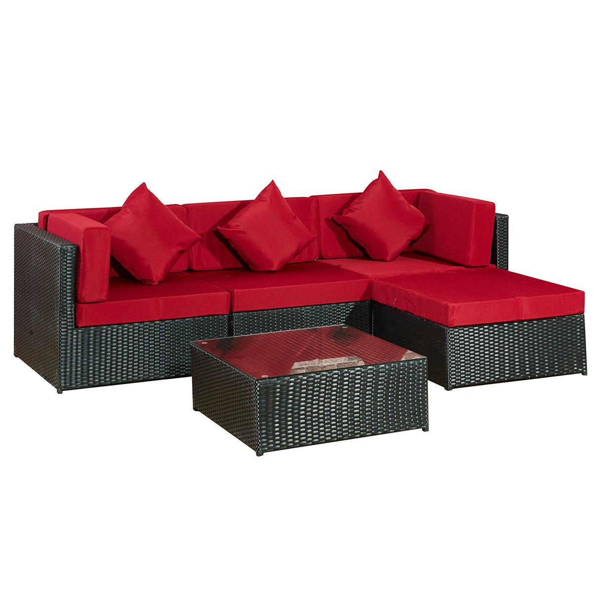 gartenmoebel bergen ii schwarz rot aus stahl garten polyrattan rattan lounge set neu. Black Bedroom Furniture Sets. Home Design Ideas