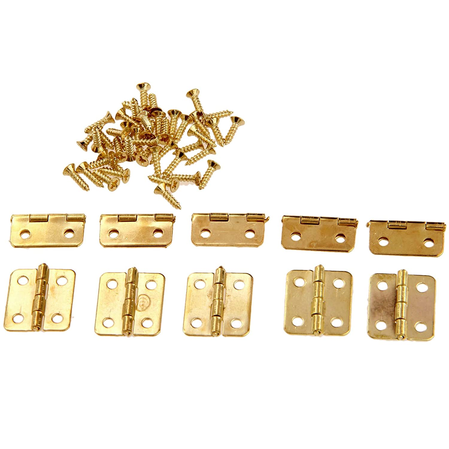 50pcs 0.71'x0.63' Gold Mini Hinge Jewellery Cigar Trinket Box Tiny Brushed Brass Gold Hinge Dophee