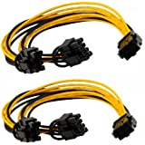 6 pin pcie Express to 2 x PCIe 8 (6+2) pin Motherboard Graphics Video Card PCI-e VGA Splitter Hub Power Extension Cable (2 Pack)