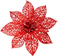 """SUPLA 24 Pack Christmas Red Glitter Poinsettia Flowers Picks Christmas Tree Ornaments 5.9"""" Wide for Red Christmas Tree Wreaths Garland Holiday Seasonal Wedding Decorations White Gift Box Included"""