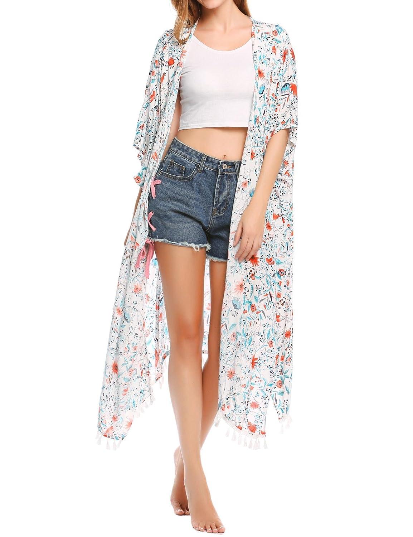 Damen Maxi Cardigan Chiffon Sommerkleid Beach Cover up Kimono Leicht Tuch Blumenbedruckter für Frauen am Strand oder See