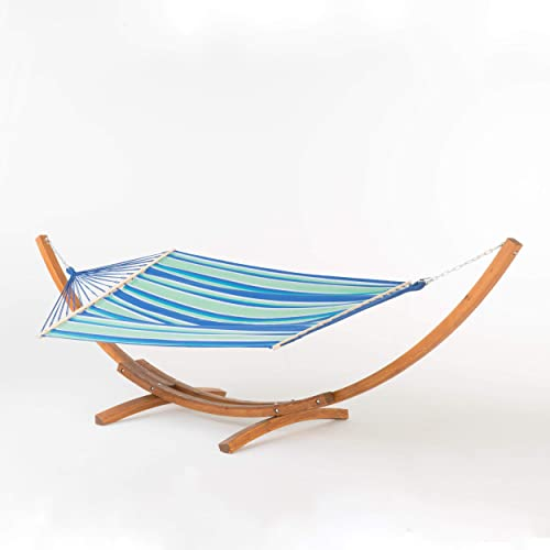 Christopher Knight Home Richardson Hammock, Teak Blue Green White Stripe