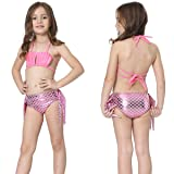 Jeferym Mermaid Tails Swimsuits for Swimming Bikini Set Can add Monofin for Toddler Big Girls A Shining Pink 3-4 Years 110