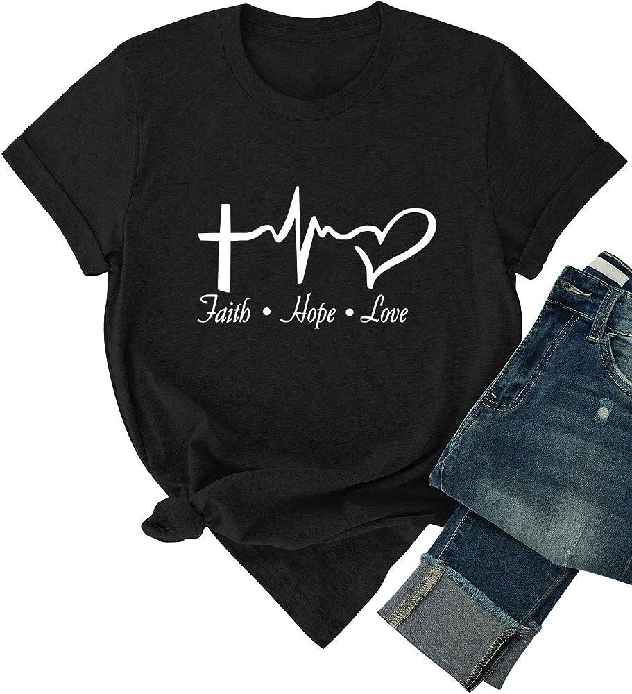Dresswel Faith Hope Love Camiseta Mujer Manga Corta Cuello Redondo Blusa Camisa Básica Camisetas Suelto Verano Tops: Amazon.es: Ropa y accesorios