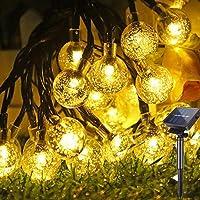 Guirnaldas Luces Exterior Solar, Hatonky 6.5M/21.3FT 30LED 8 Modos Cadena de Bola Cristal Luz, Guirnalda Solar LED Bola…