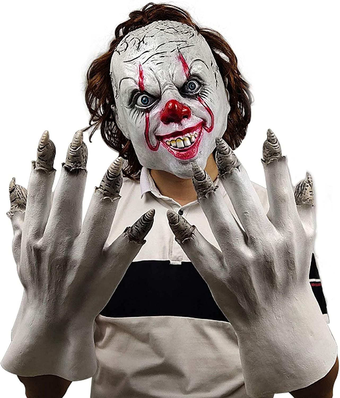 molezu Horror Overhead Clown Mask Halloween Costume Party Creepy Scary Scary Decoration Puntelli.
