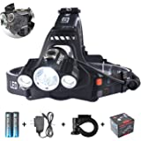 Smiling Shark 5000 Lumen Super Bright LED Headlamp, 4 Modes Waterproof Headlight, Rechargeable 18650 Batteries, Charger, Bicycle Clip for Outdoor Sports
