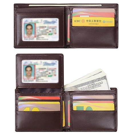Billetera para Hombre Sailinna Carteras Inhibidora de RFID con Tarjetero de Cuero auténtico con Compartimento Transparente de Doble Cara y Caja de Regalo ...