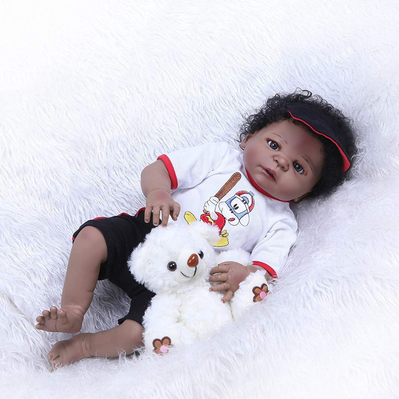"""22/""""Lifelike Reborn Baby Dolls African American Realistic Boy Doll with Soft Body"""