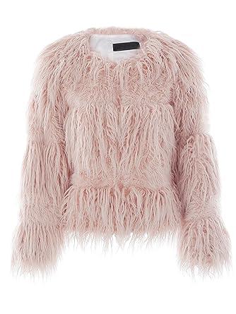 9e081f453291 BerryGo Women's Fluffy Shaggy Long Hairy Faux Fur Coat Jacket Outwear Pink,M