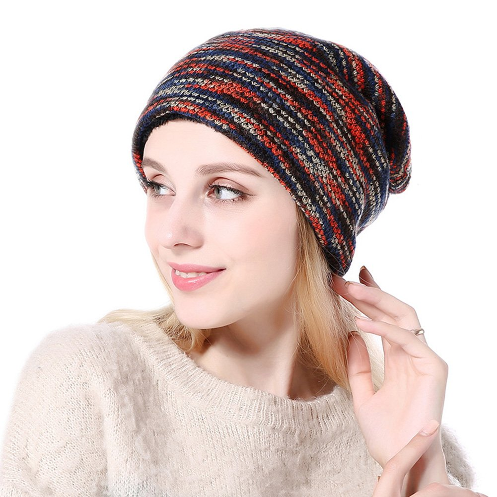 MolVee Women&Men Winter Warm Hat Velvet Chunky Cable Knit Beanie Outdoor Cap (Red)