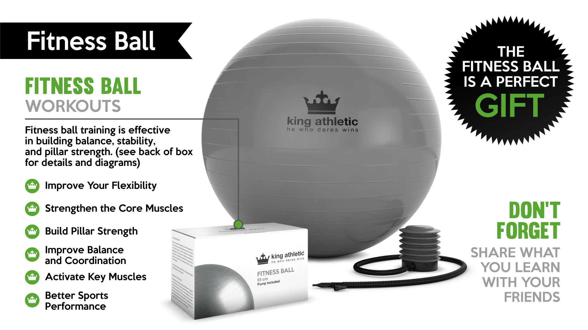 Cyber Week Sale :: Exercise Ball :: Stability Balance Swiss Yoga Balls Made With Anti Burst Rubber :: Fitness Ball Chair Comes in 65 cm & 55cm Size :: Includes Bonus E-Book
