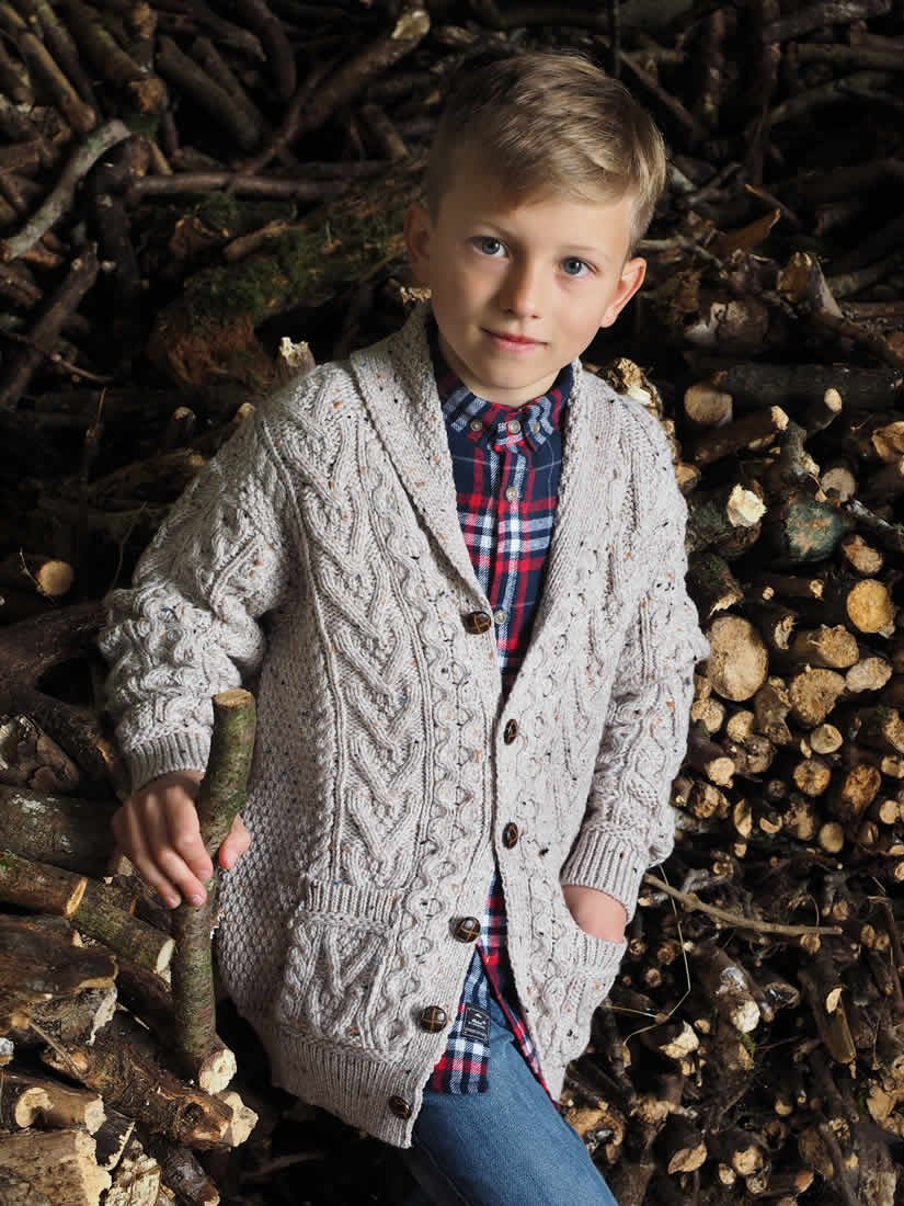 100% Merino Wool Cardigan, Oatmeal Colour