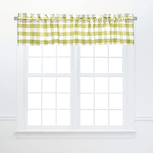 C F Home Franklin Peridot Valance Set of 2 Checkered Cotton Curtains for Window Living Dinning Room Bedroom Bathroom Kitchen Valance Set of 2 Green